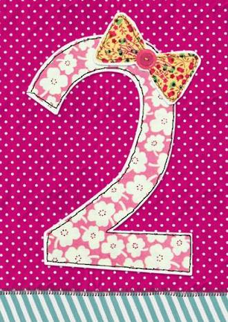 Age Card 2: Girl Fabrics Birthday Bow