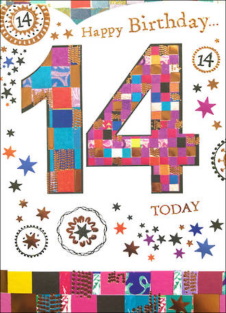 Age Card 14: Female Birthday Mosaic