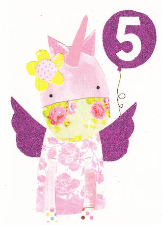 Age Card 5: Girl Dungarees Unicorn