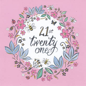 Age Card 21: Female Pink Floral Emboss