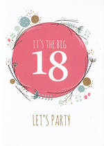 Age Card 18: Female Big One Birthday Party
