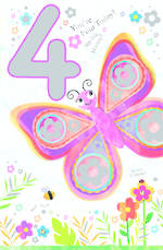 Age Card 4: Girl Birthday Pop Up Jojo's Jungle Butterfly