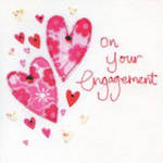 Engagement Card: Vintage Hearts