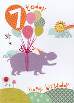 Age Card 7: Girl Hello Sunshine Hippo