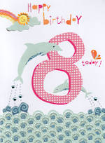 Age Card 8: Girl Hello Sunshine Dolphin