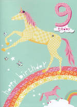 Age Card 9: Girl Hello Sunshine Unicorn