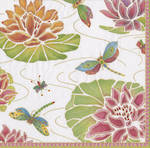Napkins: Caspari - Lunch Jeweled Pond Ivory
