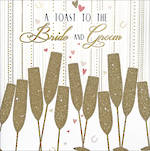 Wedding Card: Gatsby Gold Glitter Glasses