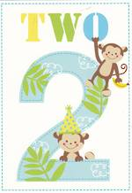 Age Card 2: Boy Honey & Hugs Monkeys