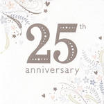 Anniversary Card 25th Silver: Silver Floral