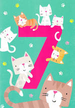 Age Card 7: Girl Birthday Tiger Tail Cats