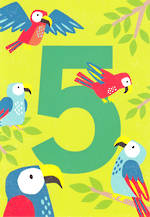 Age Card 5: Boy Birthday Tiger Tail Parrots
