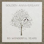Anniversary Card 50th Gold: Bonheur Golden Tree