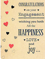 Engagement Card: Hearts Brown & Silver