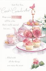 Great Grandmother Birthday Card: Tea and Cakes