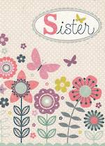 Sister Birthday Card: Flowers Butterfly Dots