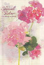 Sister Birthday Card: Flowers & Glitter