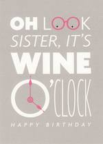 Sister Birthday Card: Hallmark Wine O'Clock