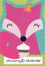 Age Card 2: Girl Pink Fox