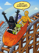 Humour Birthday Card: Shoebox Rollercoaster C3PO