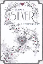 Anniversary Card 25th Silver: Pizazz Formal Floral