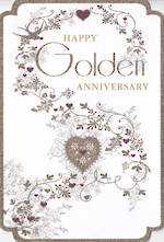 Anniversary Card 50th Gold: Pizazz Formal Floral