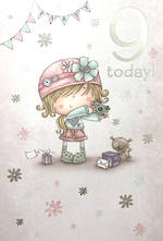 Age Card 9 Girl Birthday Cartoon