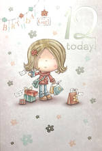Age Card 12 Girl Birthday Cartoon