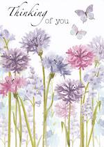 Sympathy Card: Thinking Of You Flowers Butterflies