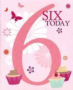 Age Card 6 Girl Candy Burst Cupcakes