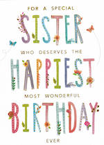 Sister Birthday Card: Blooming Wishes Happiest