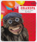 Grandad Birthday Card: Froot Loop Grandpa Monkey