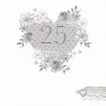 Anniversary Card 25th Silver: Made With Love Heart