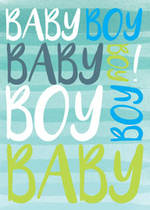 Baby Card Boy: Blue Green Text