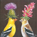 Napkins: Paper Products - Cocktail Goldfinch Couple