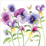 Napkins: Paper Products - Lunch Violet Pansies