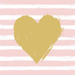 Napkins: Paper Products - Lunch Heart & Stripes Rose