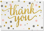 Thank You Note Cards Pink Gold Dots