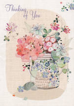 Sympathy Card: Thinking Of You Bluebell Vase