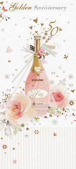 Anniversary Card 50th Gold: Florentine Pink Fizz