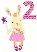Age Card 2: Girl Dungarees Bunny