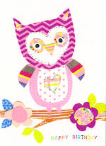 Kids' Birthday Card: Dungarees Owl Happy