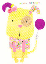 Kids' Birthday Card: Dungarees Dog Happy
