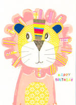 Kids' Birthday Card: Dungarees Lion Happy