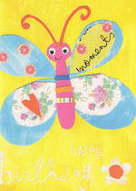 Kids' Birthday Card: Lally Do Happy Butterfly