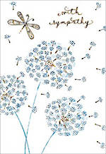 Sympathy Card: Butterfly Blue Flowers