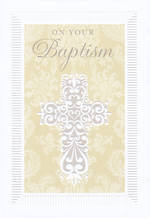 Baby Baptism Card: Baptism Embossed Cross
