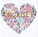 Engagement Card: Kiss Kiss Floral Heart
