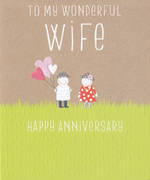 Anniversary Card Wife: Pip & Me Heart Bouquet