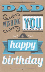 Dad Birthday Card: Talk The Type Blue Emboss